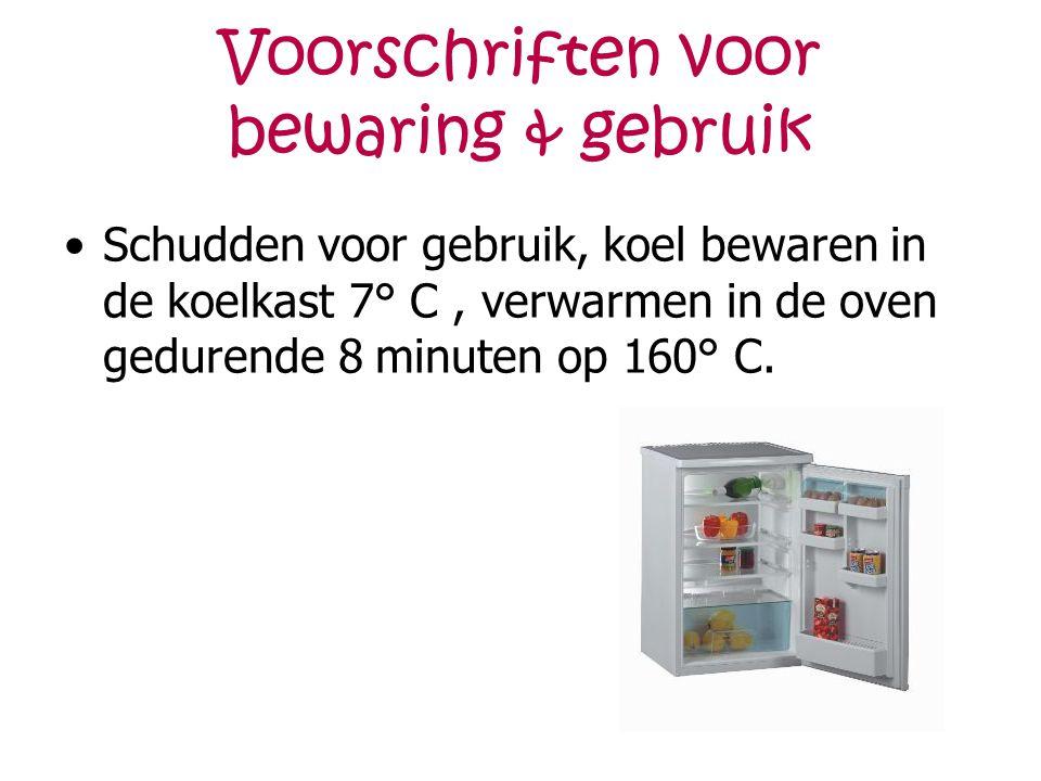 Voorschriften voor bewaring & gebruik Schudden voor gebruik, koel bewaren in de koelkast 7° C, verwarmen in de oven gedurende 8 minuten op 160° C.