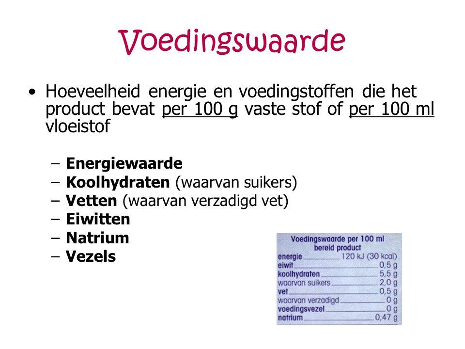 Voedingswaarde Hoeveelheid energie en voedingstoffen die het product bevat per 100 g vaste stof of per 100 ml vloeistof –Energiewaarde –Koolhydraten (