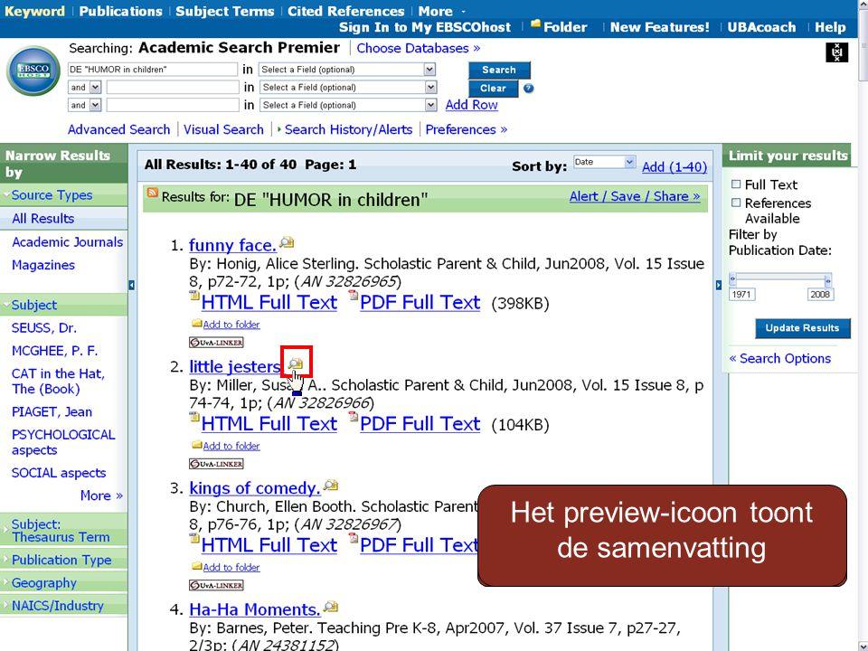 Zijn de titels wel relevant Het preview-icoon toont de samenvatting