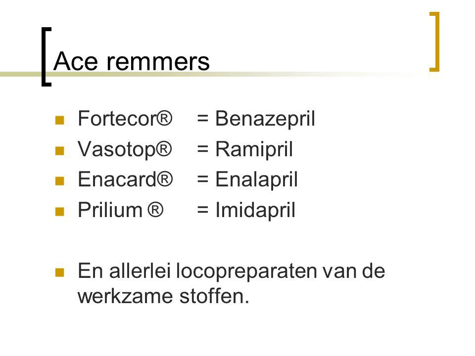 Ace remmers Fortecor® = Benazepril Vasotop® = Ramipril Enacard® = Enalapril Prilium ®= Imidapril En allerlei locopreparaten van de werkzame stoffen.
