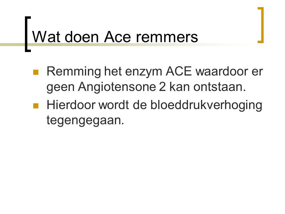 Wat doen Ace remmers Remming het enzym ACE waardoor er geen Angiotensone 2 kan ontstaan. Hierdoor wordt de bloeddrukverhoging tegengegaan.
