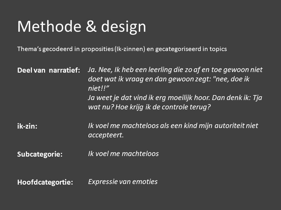 Methode & design Deel van narratief: ik-zin: Subcategorie: Hoofdcategortie: Ja.