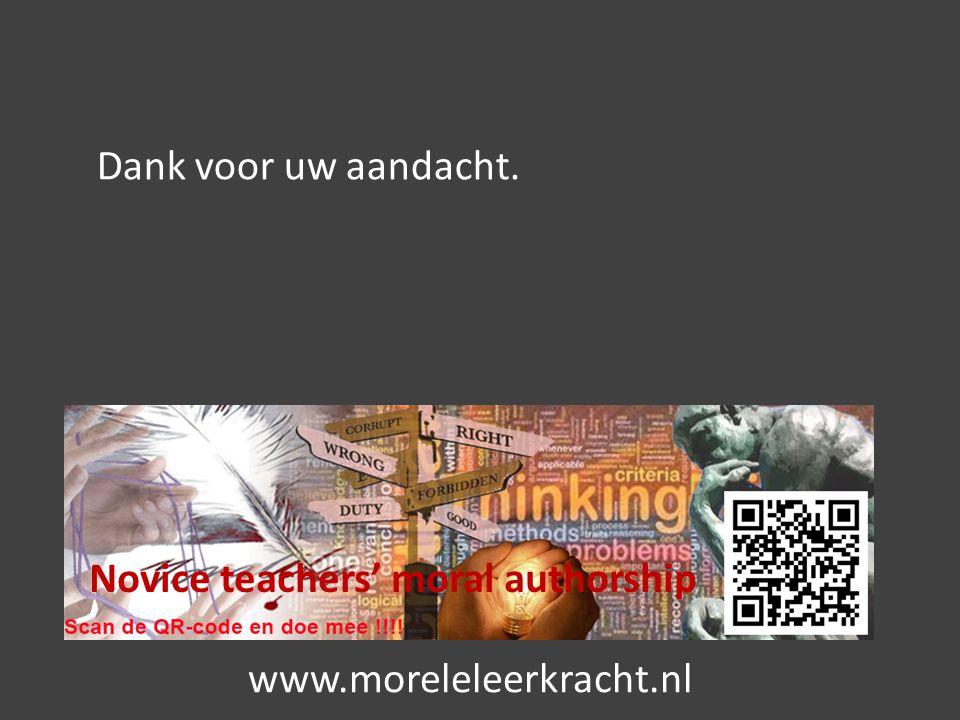 Novice teachers' moral authorship Dank voor uw aandacht. www.moreleleerkracht.nl