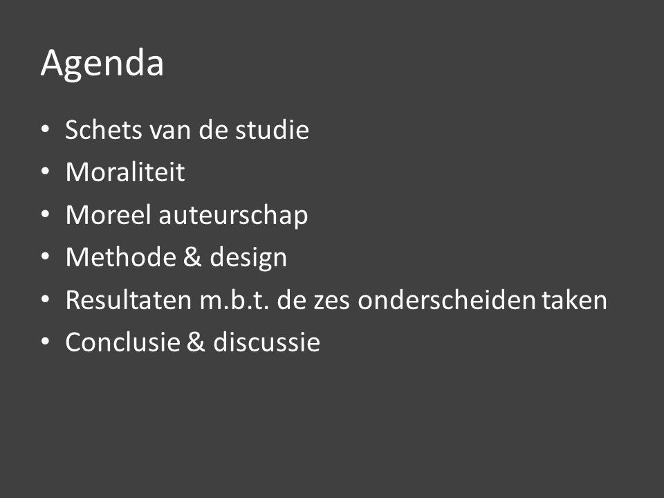 Agenda Schets van de studie Moraliteit Moreel auteurschap Methode & design Resultaten m.b.t.