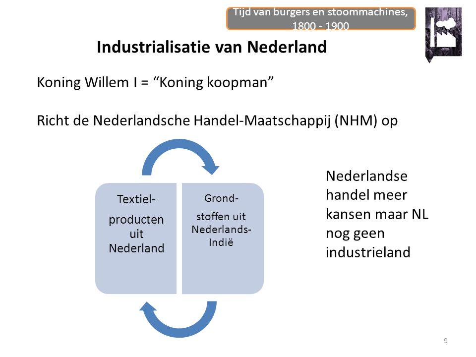 """Tijd van burgers en stoommachines, 1800 - 1900 9 Industrialisatie van Nederland Koning Willem I = """"Koning koopman"""" Richt de Nederlandsche Handel-Maats"""