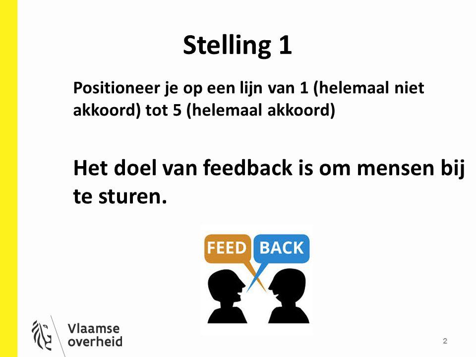 Stelling 1 2 Positioneer je op een lijn van 1 (helemaal niet akkoord) tot 5 (helemaal akkoord) Het doel van feedback is om mensen bij te sturen.