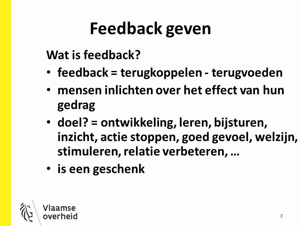 Feedback geven 3 Wat is feedback.