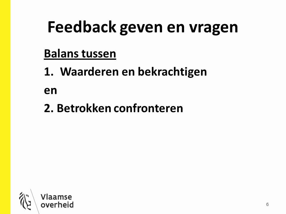 Feedback geven en vragen 6 Balans tussen 1.Waarderen en bekrachtigen en 2. Betrokken confronteren