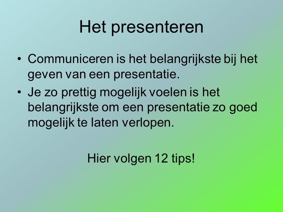 Het presenteren Communiceren is het belangrijkste bij het geven van een presentatie. Je zo prettig mogelijk voelen is het belangrijkste om een present