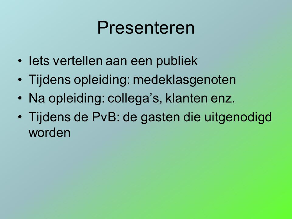Valkuilen bij presenteren Zenuwachtig Oorzaken: geen ervaring, grote groep mensen, mensen die je niet kent.