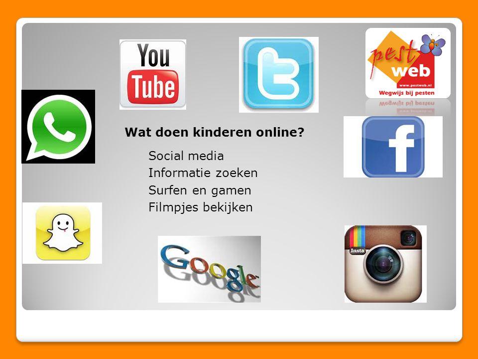 Wat doen kinderen online? Social media Informatie zoeken Surfen en gamen Filmpjes bekijken