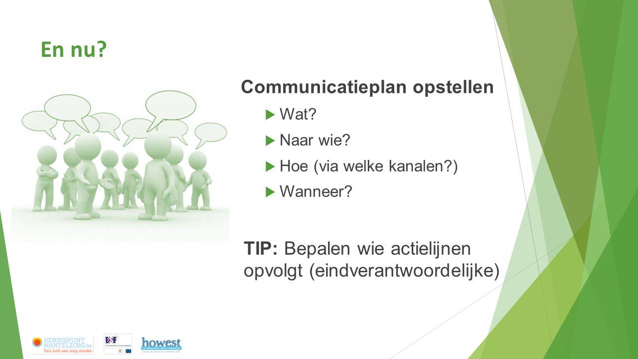 En nu? Communicatieplan opstellen  Wat?  Naar wie?  Hoe (via welke kanalen?)  Wanneer? TIP: Bepalen wie actielijnen opvolgt (eindverantwoordelijke