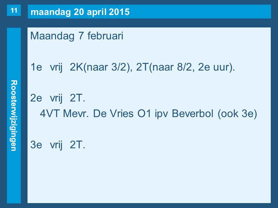 maandag 20 april 2015 Roosterwijzigingen Maandag 7 februari 1evrij2K(naar 3/2), 2T(naar 8/2, 2e uur).