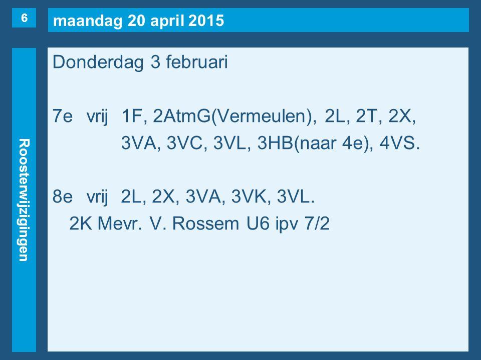maandag 20 april 2015 Roosterwijzigingen Donderdag 3 februari 7evrij1F, 2AtmG(Vermeulen), 2L, 2T, 2X, 3VA, 3VC, 3VL, 3HB(naar 4e), 4VS.