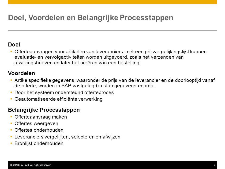 ©2013 SAP AG. All rights reserved.2 Doel, Voordelen en Belangrijke Processtappen Doel  Offerteaanvragen voor artikelen van leveranciers: met een prij