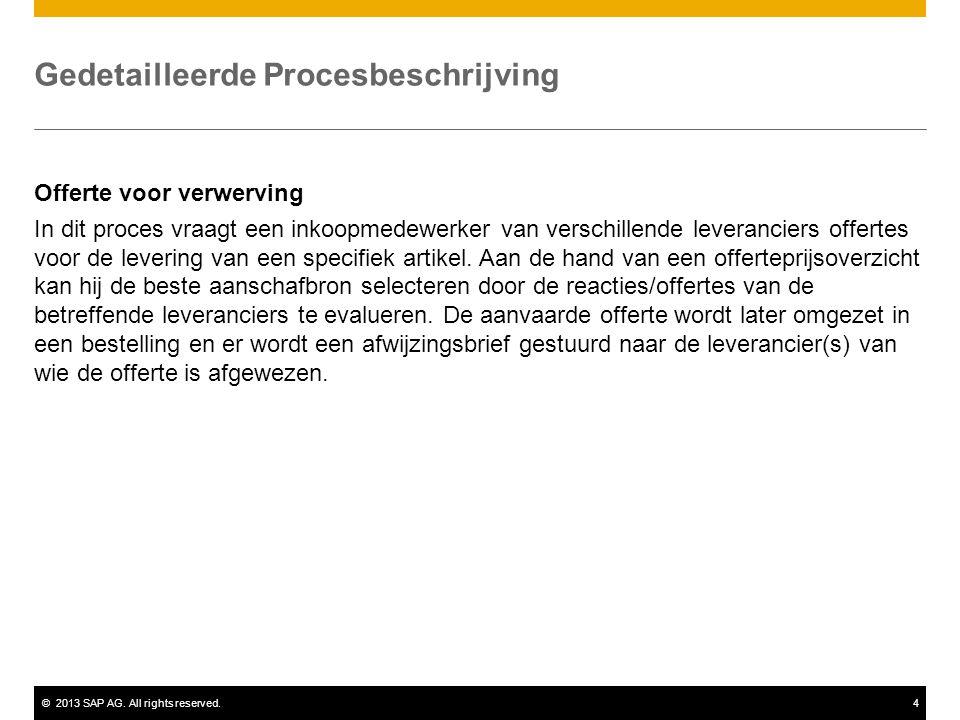 ©2013 SAP AG. All rights reserved.4 Gedetailleerde Procesbeschrijving Offerte voor verwerving In dit proces vraagt een inkoopmedewerker van verschille