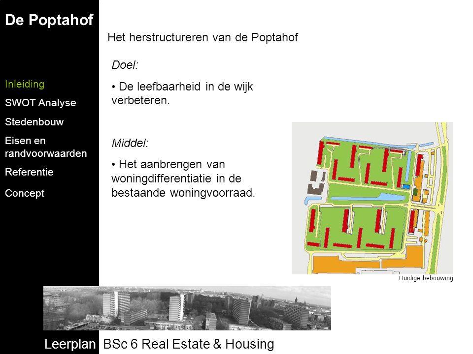 Leerplan BSc 6 Real Estate & Housing De Poptahof Inleiding SWOT Analyse Stedenbouw Eisen en randvoorwaarden Referentie Concept Het herstructureren van de Poptahof Doel: De leefbaarheid in de wijk verbeteren.