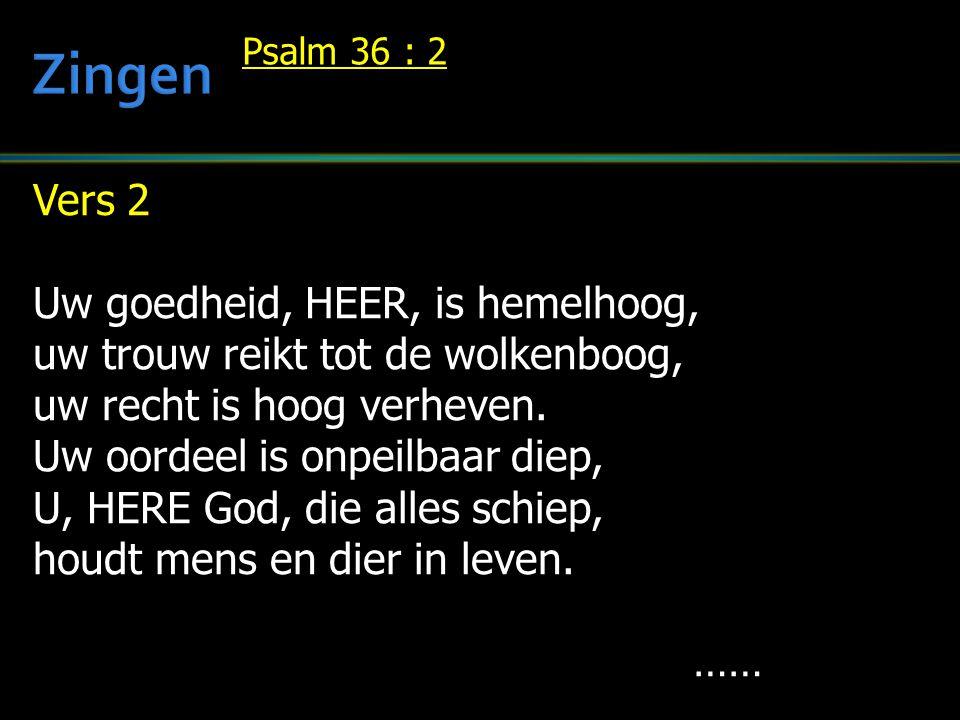 Vers 2 Uw goedheid, HEER, is hemelhoog, uw trouw reikt tot de wolkenboog, uw recht is hoog verheven. Uw oordeel is onpeilbaar diep, U, HERE God, die a