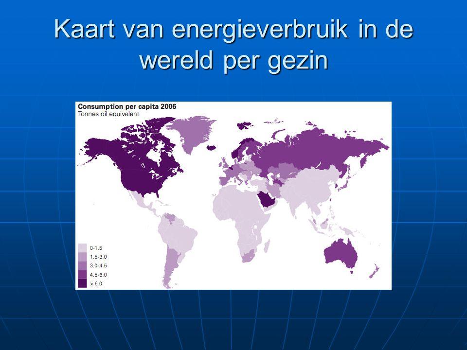 Kaart van energieverbruik in de wereld per gezin