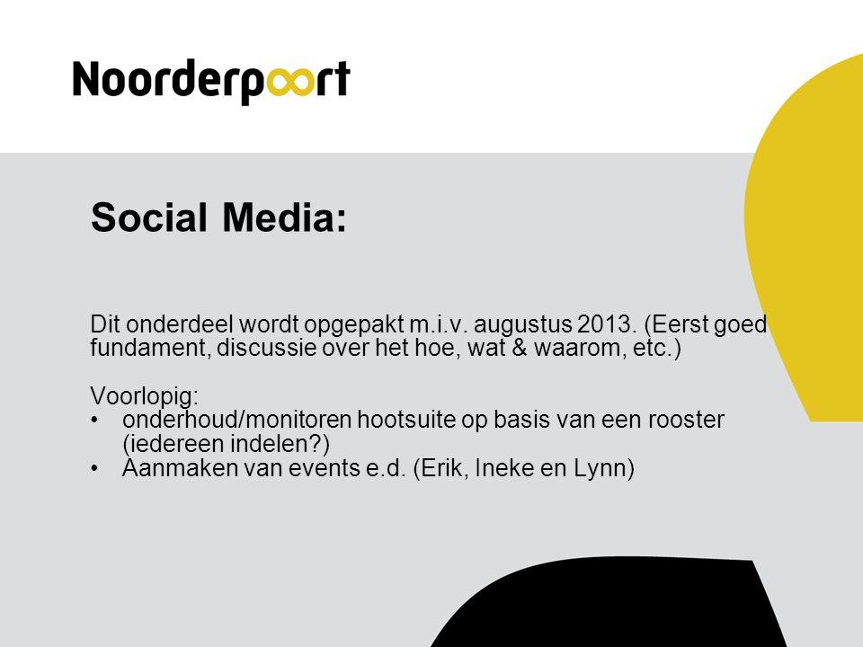 Social Media: Dit onderdeel wordt opgepakt m.i.v. augustus 2013.