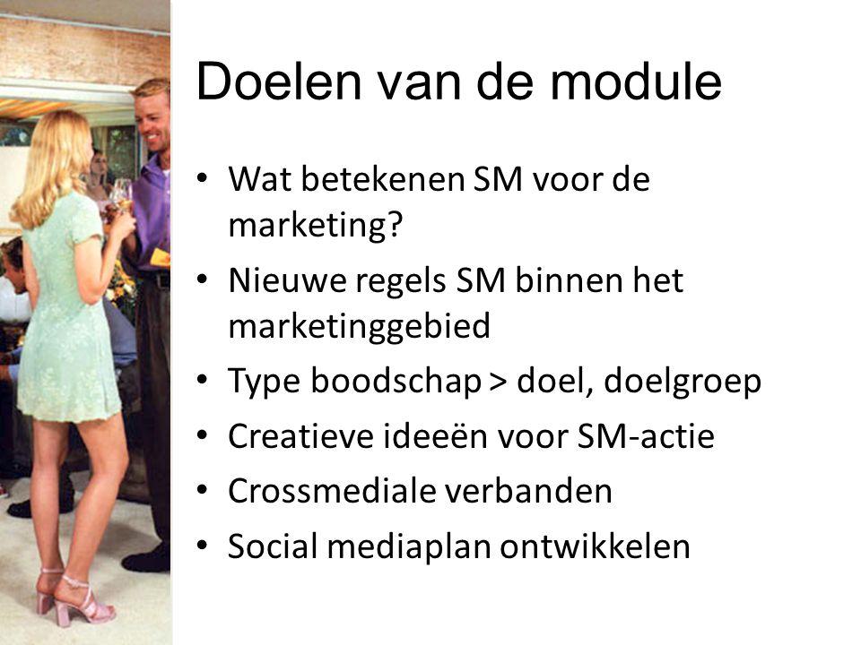 Doelen van de module Wat betekenen SM voor de marketing? Nieuwe regels SM binnen het marketinggebied Type boodschap > doel, doelgroep Creatieve ideeën
