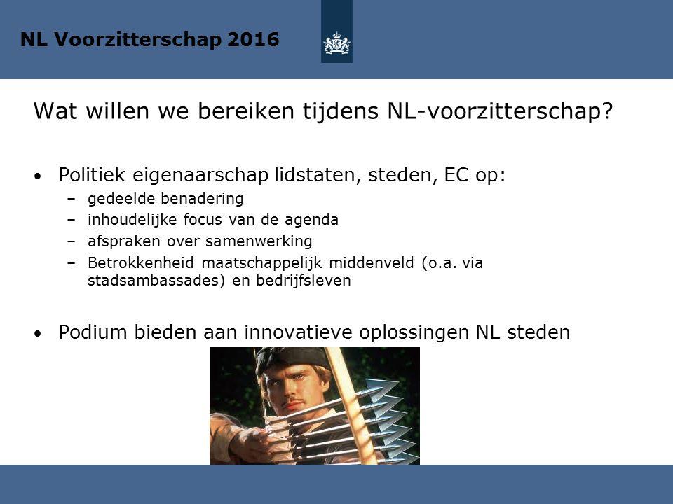 Wat willen we bereiken tijdens NL-voorzitterschap? Politiek eigenaarschap lidstaten, steden, EC op: –gedeelde benadering –inhoudelijke focus van de ag