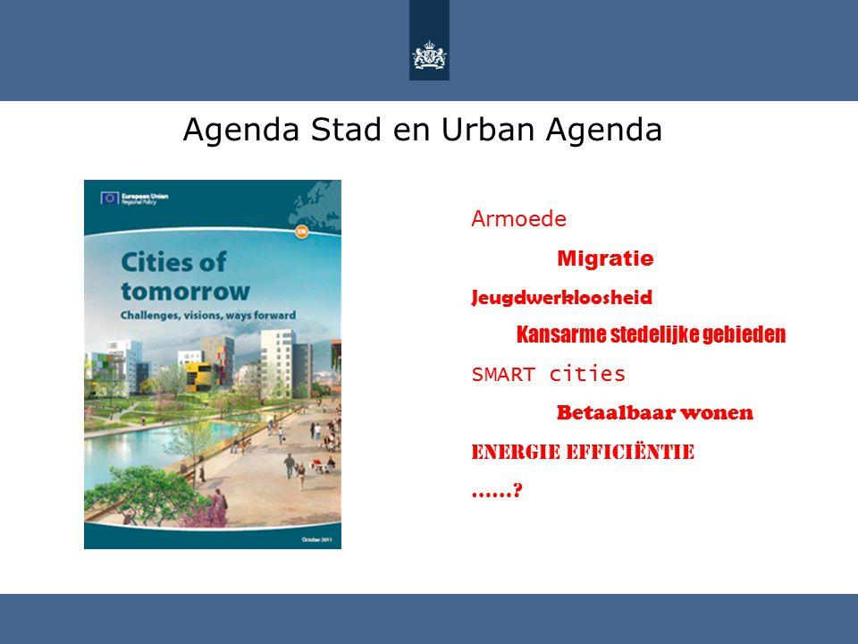 Agenda Stad en Urban Agenda Armoede Migratie Jeugdwerkloosheid Kansarme stedelijke gebieden SMART cities Betaalbaar wonen Energie efficiëntie ……?