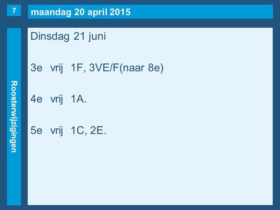 maandag 20 april 2015 Roosterwijzigingen Dinsdag 21 juni 3evrij1F, 3VE/F(naar 8e) 4evrij1A.
