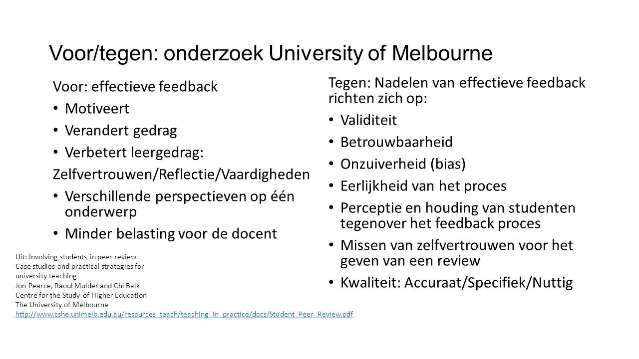Voor/tegen: onderzoek University of Melbourne Voor: effectieve feedback Motiveert Verandert gedrag Verbetert leergedrag: Zelfvertrouwen/Reflectie/Vaar