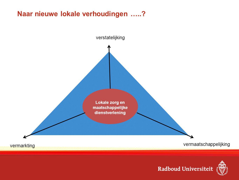 Lokale zorg en maatschappelijke dienstverlening verstatelijking vermaatschappelijking vermarkting Naar nieuwe lokale verhoudingen …..?