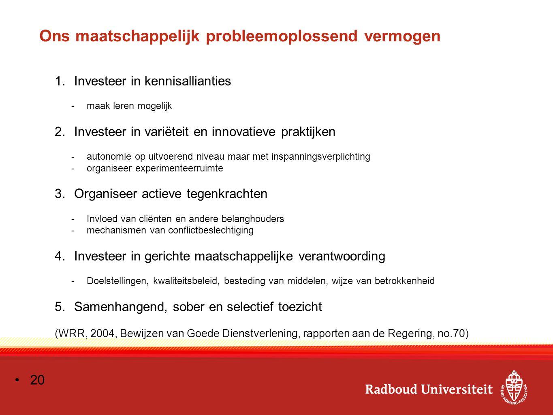 Ons maatschappelijk probleemoplossend vermogen 1.Investeer in kennisallianties -maak leren mogelijk 2.Investeer in variëteit en innovatieve praktijken