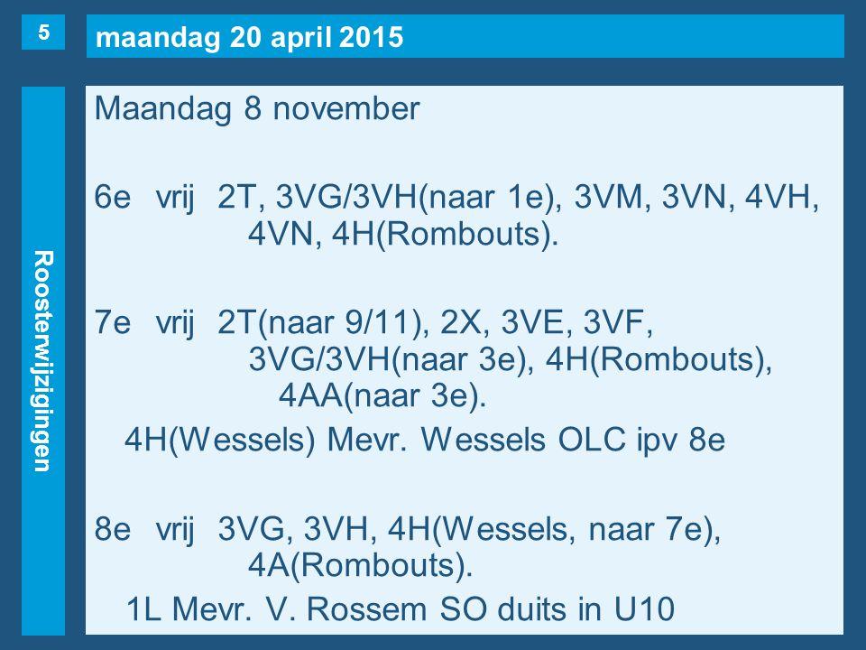 maandag 20 april 2015 Roosterwijzigingen Maandag 8 november 6evrij2T, 3VG/3VH(naar 1e), 3VM, 3VN, 4VH, 4VN, 4H(Rombouts).