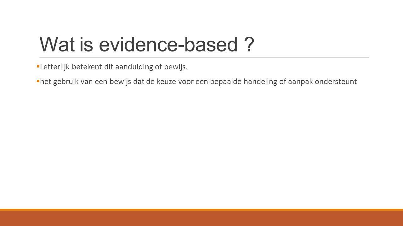 Wat is evidence-based . Letterlijk betekent dit aanduiding of bewijs.
