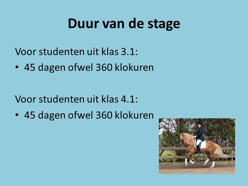 Duur van de stage Voor studenten uit klas 3.1: 45 dagen ofwel 360 klokuren Voor studenten uit klas 4.1: 45 dagen ofwel 360 klokuren