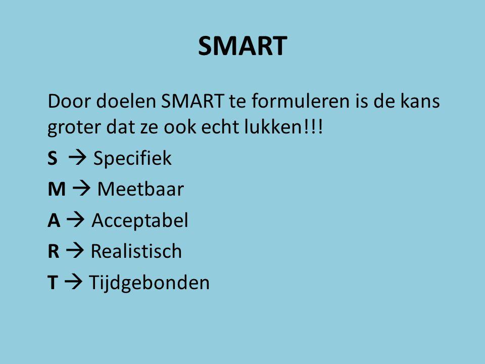SMART Door doelen SMART te formuleren is de kans groter dat ze ook echt lukken!!! S  Specifiek M  Meetbaar A  Acceptabel R  Realistisch T  Tijdge