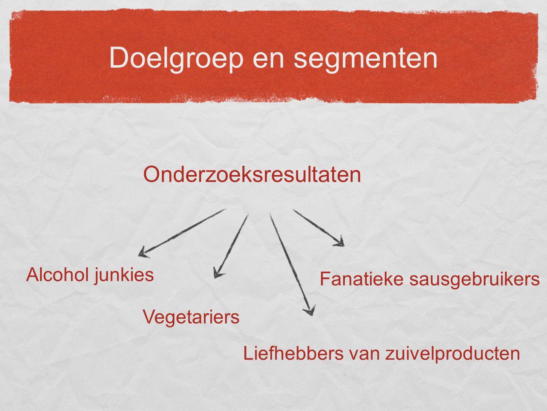 Doelgroep en segmenten Onderzoeksresultaten Liefhebbers van zuivelproducten Fanatieke sausgebruikers Vegetariers Alcohol junkies