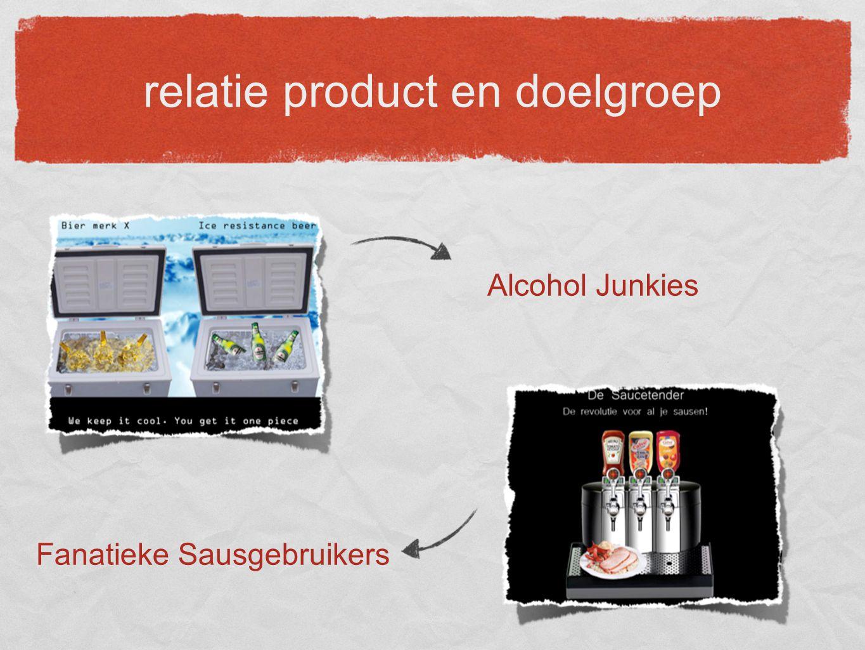 relatie product en doelgroep Fanatieke Sausgebruikers Alcohol Junkies