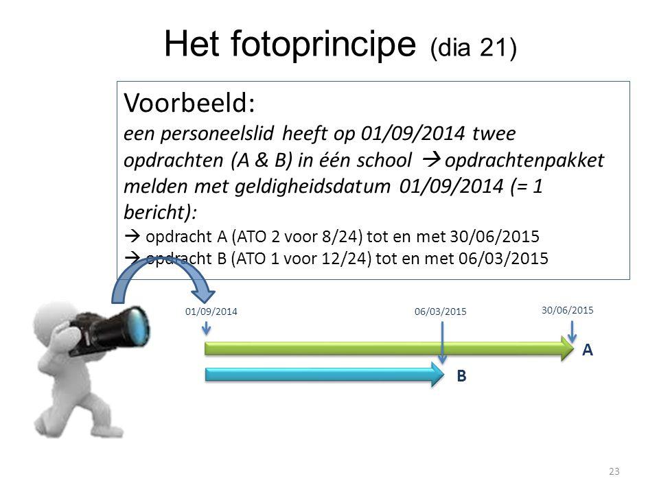 Het fotoprincipe (dia 21) Voorbeeld: een personeelslid heeft op 01/09/2014 twee opdrachten (A & B) in één school  opdrachtenpakket melden met geldigh