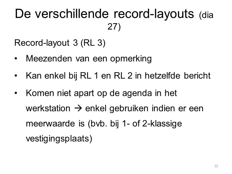 Record-layout 3 (RL 3) Meezenden van een opmerking Kan enkel bij RL 1 en RL 2 in hetzelfde bericht Komen niet apart op de agenda in het werkstation 