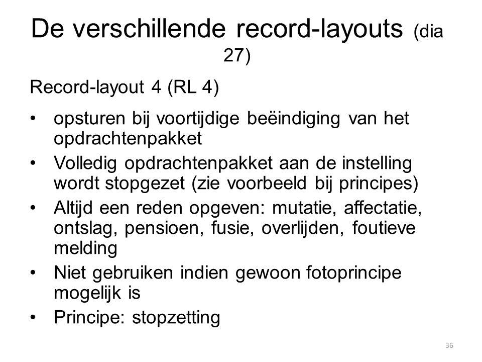 Record-layout 4 (RL 4) opsturen bij voortijdige beëindiging van het opdrachtenpakket Volledig opdrachtenpakket aan de instelling wordt stopgezet (zie