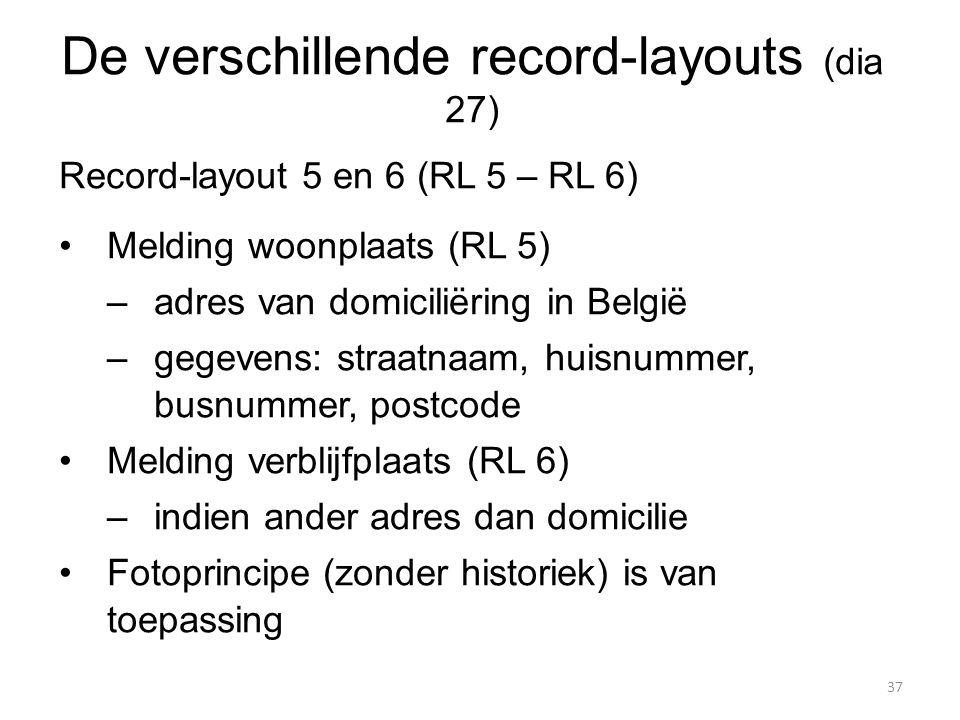 Record-layout 5 en 6 (RL 5 – RL 6) Melding woonplaats (RL 5) –adres van domiciliëring in België –gegevens: straatnaam, huisnummer, busnummer, postcode