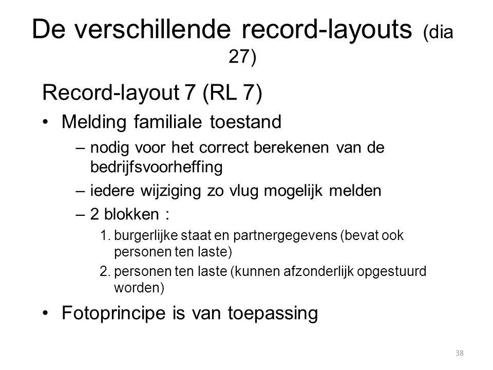 Record-layout 7 (RL 7) Melding familiale toestand –nodig voor het correct berekenen van de bedrijfsvoorheffing –iedere wijziging zo vlug mogelijk meld