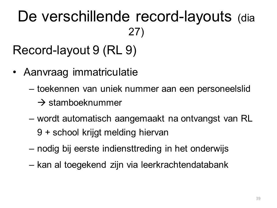 Record-layout 9 (RL 9) Aanvraag immatriculatie –toekennen van uniek nummer aan een personeelslid  stamboeknummer –wordt automatisch aangemaakt na ont