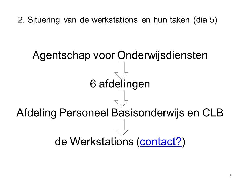 2. Situering van de werkstations en hun taken (dia 5) Agentschap voor Onderwijsdiensten 6 afdelingen Afdeling Personeel Basisonderwijs en CLB de Werks