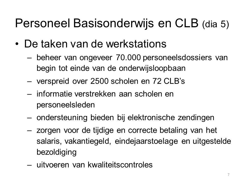 Personeel Basisonderwijs en CLB (dia 5) De taken van de werkstations –beheer van ongeveer 70.000 personeelsdossiers van begin tot einde van de onderwi
