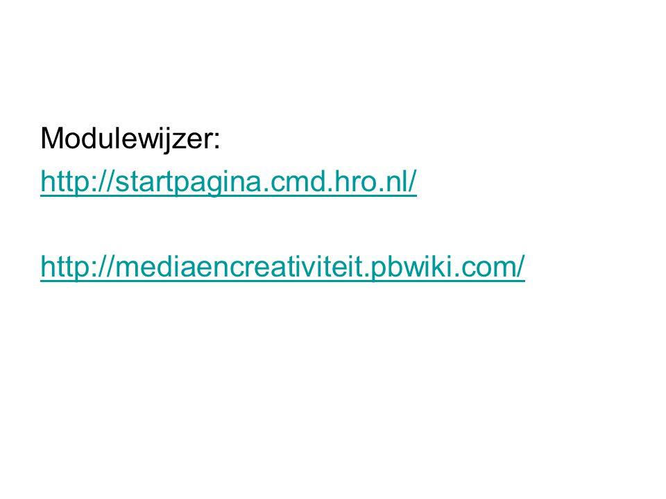 Modulewijzer: http://startpagina.cmd.hro.nl/ http://mediaencreativiteit.pbwiki.com/