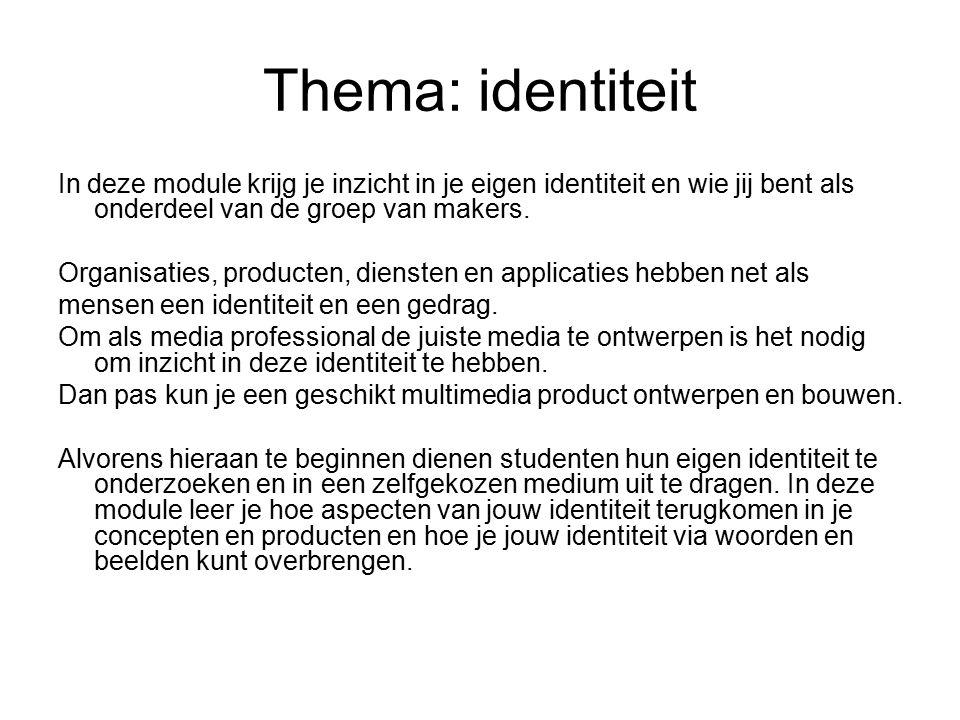 Thema: identiteit In deze module krijg je inzicht in je eigen identiteit en wie jij bent als onderdeel van de groep van makers.