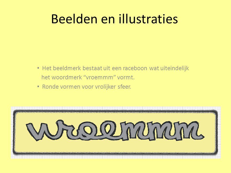 Beelden en illustraties Het beeldmerk bestaat uit een raceboon wat uiteindelijk het woordmerk vroemmm vormt.