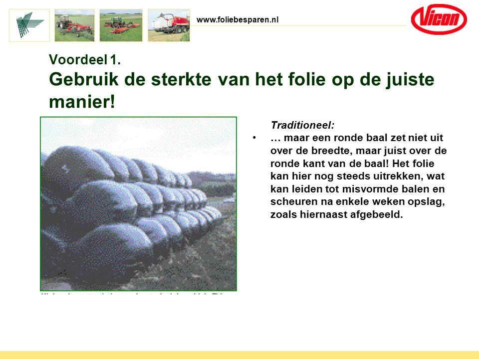 www.foliebesparen.nl Traditioneel: … maar een ronde baal zet niet uit over de breedte, maar juist over de ronde kant van de baal! Het folie kan hier n