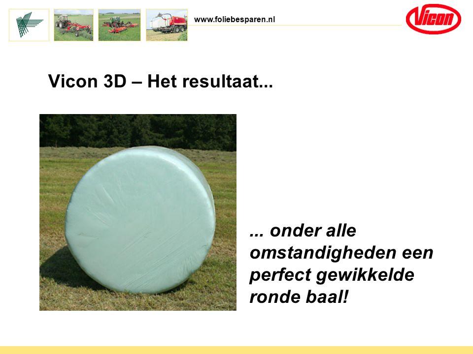 www.foliebesparen.nl Vicon 3D – Het resultaat...... onder alle omstandigheden een perfect gewikkelde ronde baal!